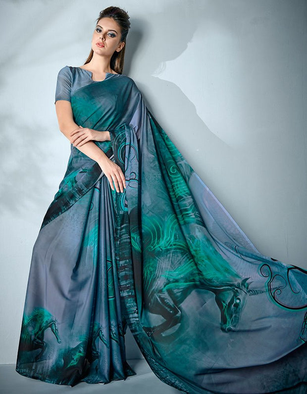 Ziva Digital Printed Aqua Blue Saree