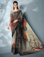 Ziva Digital Printed Ash Black Saree