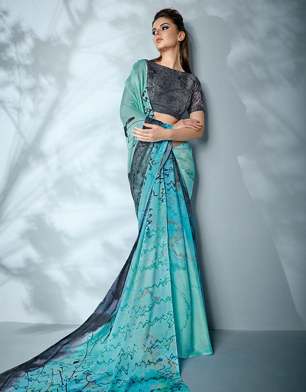 Ziva Digital Printed Azure Blue Saree