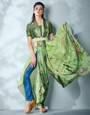 Ziva Digital Printed Lush Green Saree