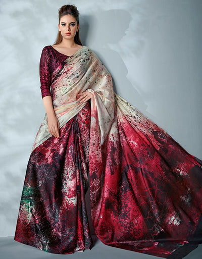 Ziva Digital Printed Current Red Saree