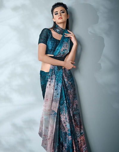 Ziva Digital Printed Peacock Blue Saree