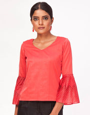 Leher Bell-Sleeve Top