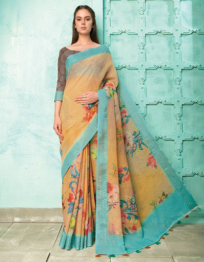 Neisha Golden Orange Linen Printed Saree