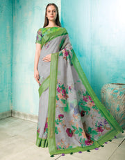 Neisha Ash Grey Linen Printed Saree