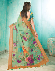 Neisha Light Green Linen Printed Saree