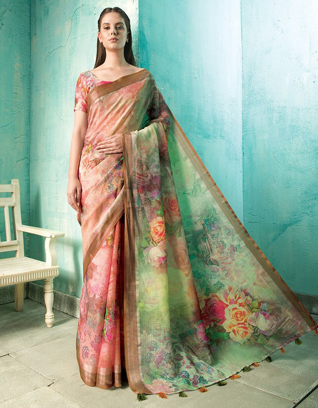 Neisha Coral Orange Linen Printed Saree