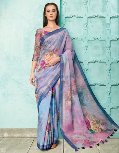Neisha Iris Purple Linen Printed Saree