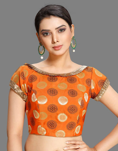 Orange Motif Frill Blouse
