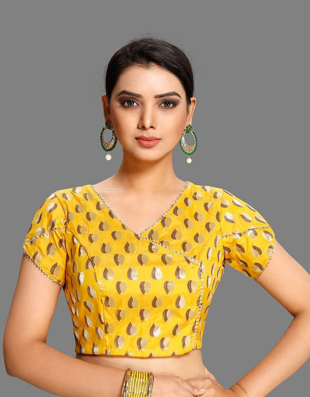 Overlapping Patterned Yellow Blouse