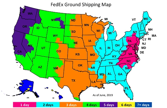 FedEx shipping map