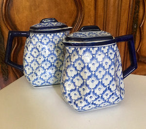 Pair of Blue and White Coffee Pots with Lids