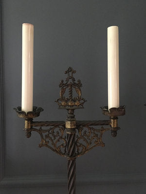 Pair of Gothic Wrought Iron Floor Lamps (2)