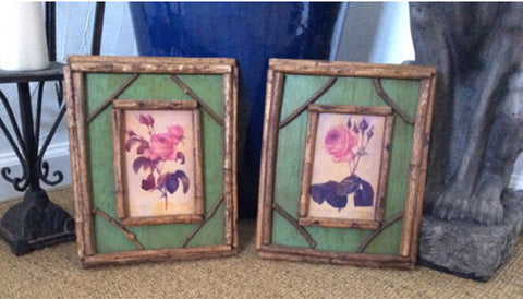 Pair of Hand-Painted Vintage Botanicals (2)