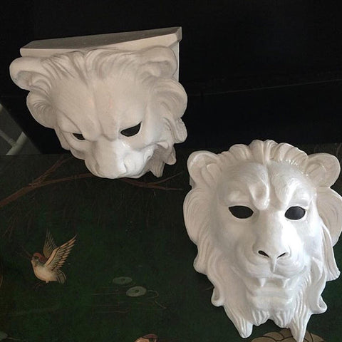 Pair of Vintage Lion Head Wall Brackets