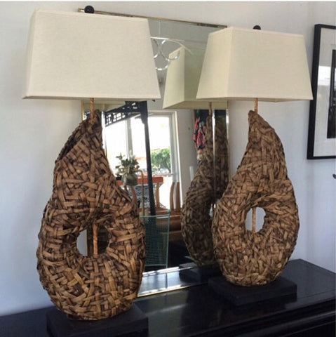 Pair of Vintage Sea Grass Lamps (2)