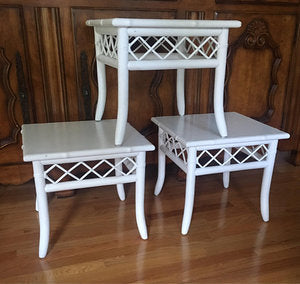 Set of Vintage Ficks Reed Tables (3)
