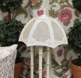 Vintage Faux Bamboo Table Lamp with Cane Shade