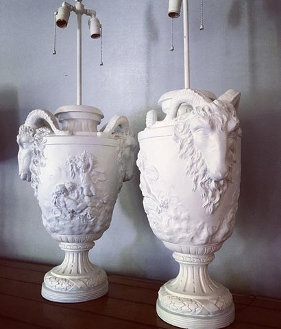 Vintage White Lamps (2)