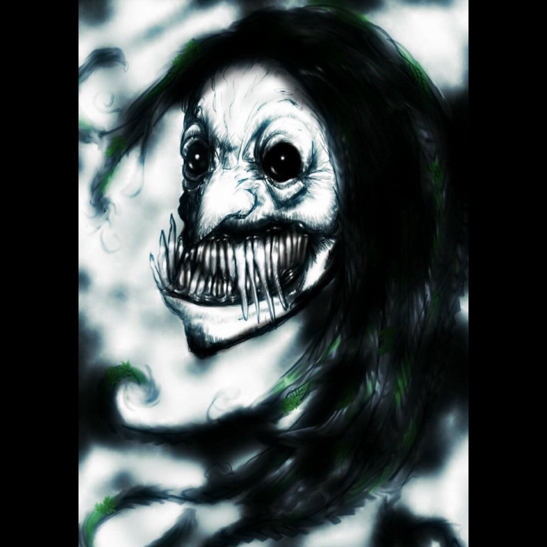 Maeltopia digital art by Mark Anzalone titled In the Garden of Nightmares featuring a demonic woman with a large mouth of long, sharp fangs.