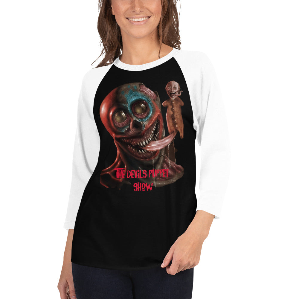 The Devils Puppet Show- 3/4 sleeve raglan shirt