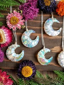 Aura Opalite Crescent Moon Wire Wrapped Necklace