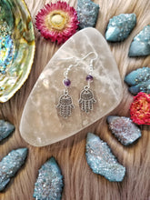 Hamsa & Amethyst Earrings