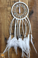 Small White Dream Catcher with Larimar Beads and an Angel Aura Quartz Point for Energy Healing