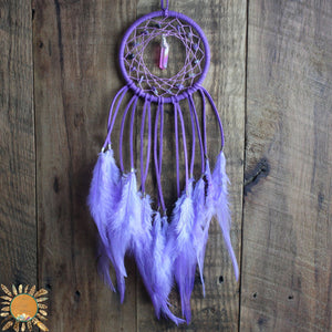 Purple Dream Catcher with Lavender Hemp, Charoite Beads, and a Lavender Aura Quartz Point