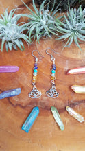 Chakra Dangle Earrings with Crystal Beads and Lotus Flower Charm - Stainless Steel Fish hook - Hypoallergenic