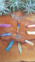 Chakra Dangle Necklace with Crystal Beads and Lotus Flower Charm - Silver plated Wire & Chain - Balancing - Grounding