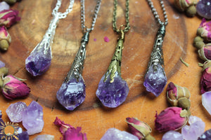 Amethyst Pendant Necklace with Ornate Vintage Detail