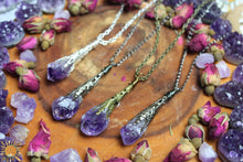 Amethyst Pendant Necklace with Ornate Vintage Detail - Choose Your Finish!