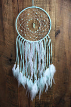 Mint Light Green Dream Catcher with Glass Pearl Beads, a Pendant of your choosing, White Lace, and White Feathers