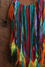 Rainbow Dream Catcher // Teal Faux Suede // Orange Hemp // Amazonite Beads // Rainbow Sari Silk // Lace // Yarn // Ribbon