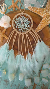 Sand Colored Dream Catcher with Mint Hemp, Amazonite Beads, and a Clear Quartz Point
