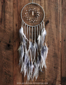 Gray, White, & Light Pink Dream Catcher // Rose Quartz Beads // Rose Quartz Pendant // Matching Feathers