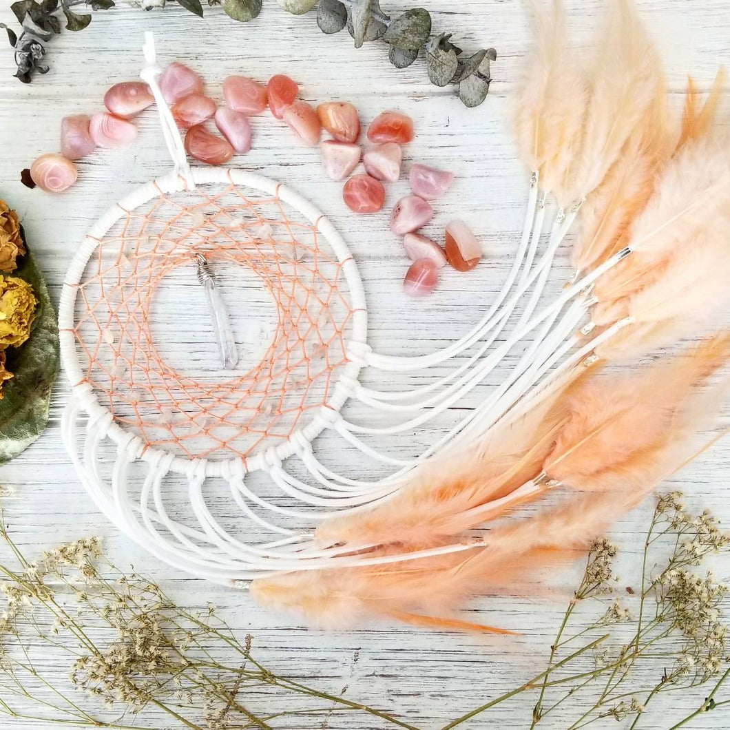 White & Peach Dream Catcher with Moonstone and Angel Aura Quartz