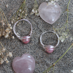 Rose Quartz Wired Wrapped Ring for Self Love
