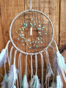 Gray, White, & Mint Dream Catcher // Amazonite Beads // Amazonite Point // Matching Feathers