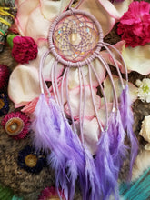 Lavender Dream Catcher // Aura Quartz Bubble Beads // Lavender Hemp // Lavender Feathers // Clear Quartz Point