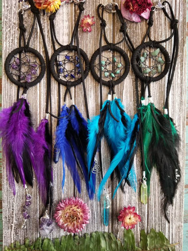 Mini Black Hanging Dream Catcher Accessory Rear View Mirror Charm // Purple // Indigo // Turquoise // Green