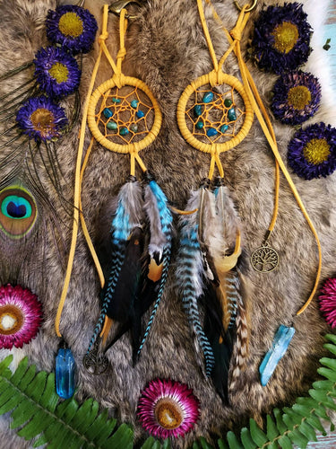 Dream Catcher Rear View Mirror Charm // Golden Yellow // Turquoise // Tree of Life // Aqua Aura Quartz