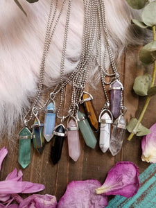 Crystal Point Necklace in a Silver Finish - Aventurine, Opalite, Rose Quartz, Clear Quartz, Amethyst, Agate, Howlite, Fluorite, Tigers Eye
