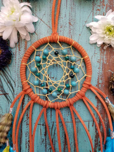 Orange Dream Catcher // Blue & Yellow // Howlite // Chrysocolla // Strength // Protection // Crystal Healing