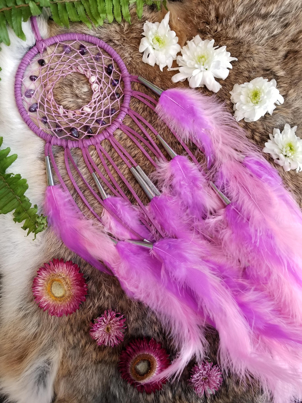 Purple Dream Catcher // Pink Hemp // Amethyst & Sunstone Beads // Lavender Feathers // Protection // Happiness