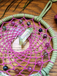 Green and Magenta Dream Catcher with Hemp, Watermelon Agate Beads, and an Apple Aura Quartz Point