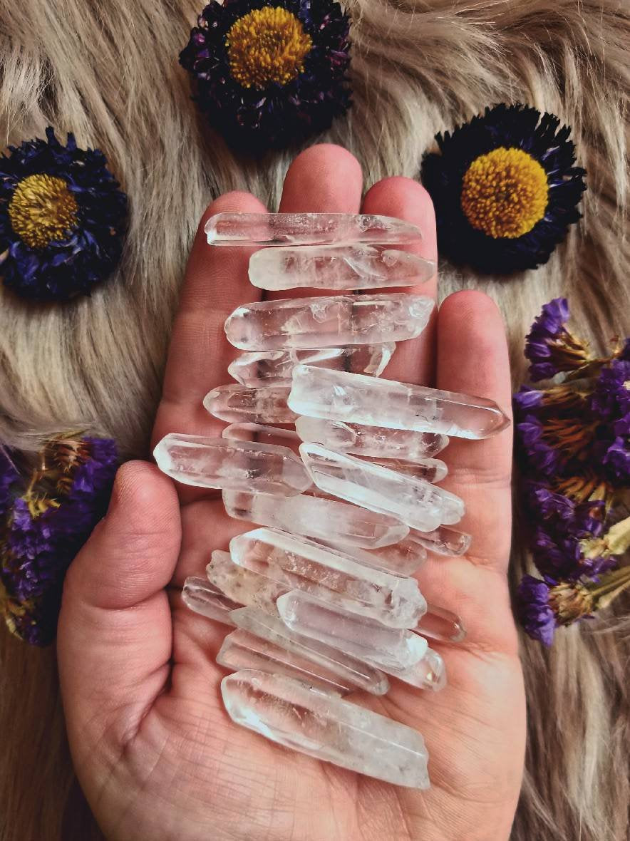 Clear Quartz Points // Natural Stones // Polished Crystals // 5 Pieces
