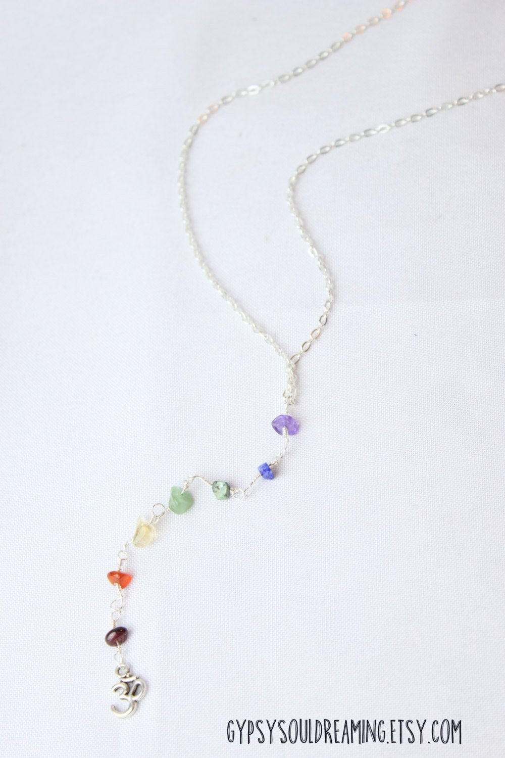 Long Dangle Chakra Necklace Hand Wrapped with an Ohm Charm and Clasp Closure