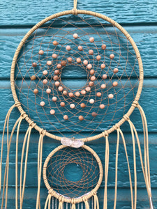 Peach Goddess Dream Catcher with Moonstone
